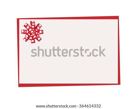 Holiday card. St. Valentines day. Confess his love,  declaration of love, Invitation, decorated bow heart. Isolated on the white. - stock photo