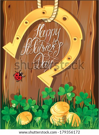 Holiday card with calligraphic words Happy St. Patrick`s Day. Shamrock, horseshoe, ladybug and golden coins on wooden background. Raster version