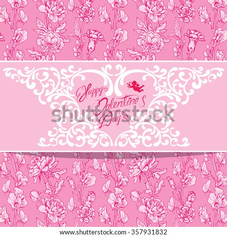 Holiday card with floral elements, flowers, angel, heart, frame, calligraphic handwritten text Happy Valentines Day on pink background. Raster version - stock photo