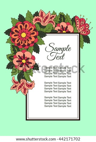 Holiday card with spring flowers. Background for inscriptions. Cover, banner. Red and green colors