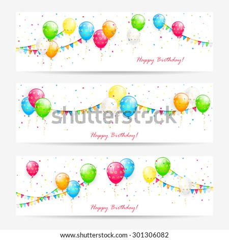 Holiday cards with colorful balloons, streamers, pennants and confetti, Birthday banners, illustration. - stock photo