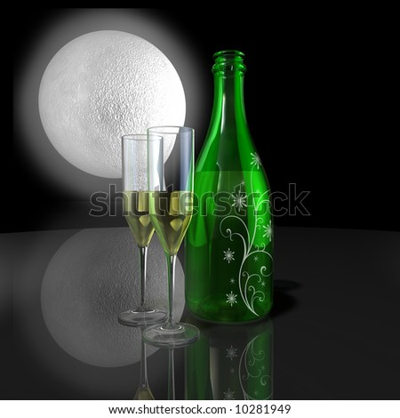 Holiday Champagne for 2 with snow flake pattern - stock photo