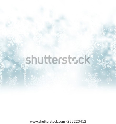 Holiday Christmas Background With  Snow And Snowflakes - stock photo