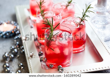 Holiday cocktails for Christmas on tray - stock photo