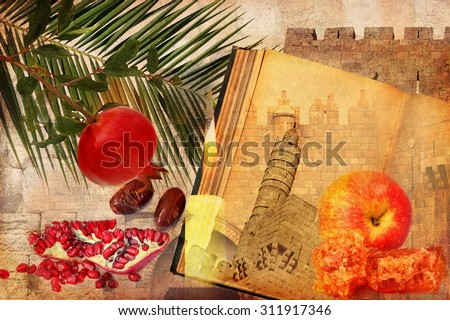 Holiday composition of Rosh Hashana(Judaic New year)on textured old paper paper with Jerusalem historical architecture and traditional food for holiday - apple, pomegranate,date fruit.Textured collage - stock photo