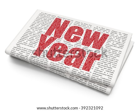 Holiday concept: New Year on Newspaper background