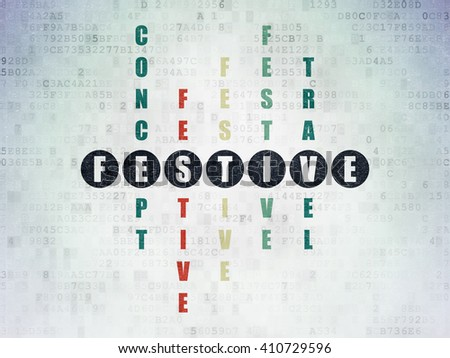 Holiday concept: Painted black word Festive in solving Crossword Puzzle on Digital Data Paper background - stock photo