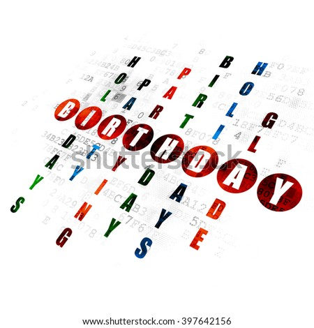 Holiday concept: Pixelated red word Birthday in solving Crossword Puzzle on Digital background - stock photo