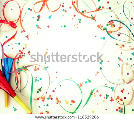 Holiday confetti on retro background with copyspace - stock photo