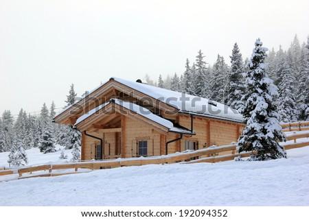 Holiday cottage, Alpine scenery.  Skiing Resort Zillertal Arena. Gerlos, Austria. - stock photo
