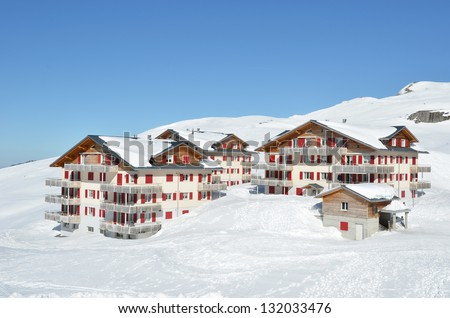 Holiday cottages in Melchsee-Frutt, Switzerland - stock photo