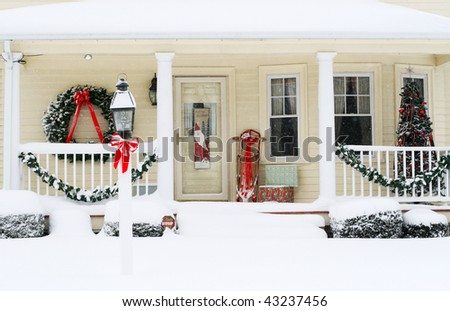 holiday decorated porch