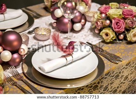 holiday decoration on party table in gentle colors - stock photo