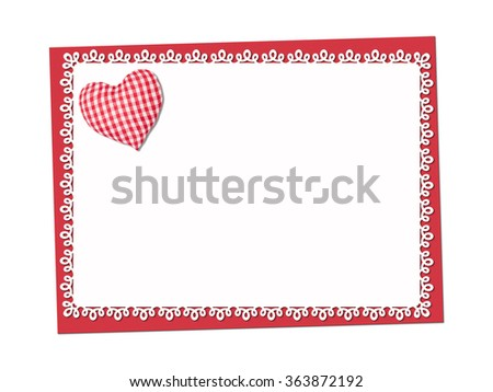 Holiday delicate, lacy card. St. Valentines day. Confess his love,  declaration of love, Invitation, decorated plaid fabric heart. Isolated on the white. - stock photo