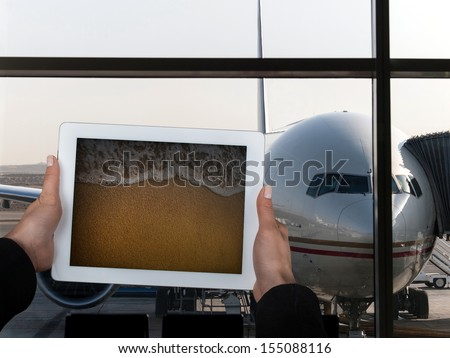 holiday destination before flight - stock photo