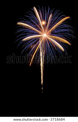 Holiday display of fireworks in the night sky - stock photo