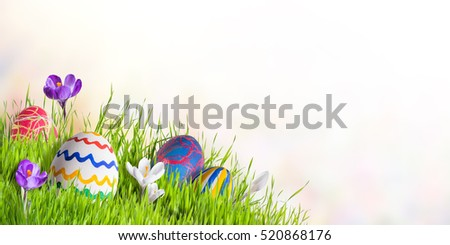 Holiday Easter card with eggs and flowers, celebration backdrop