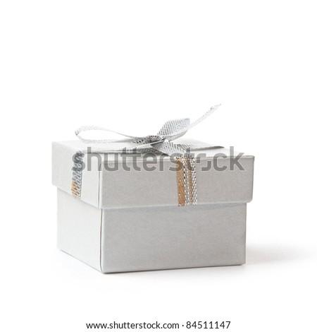 Holiday, elegant gift box on white background. - stock photo