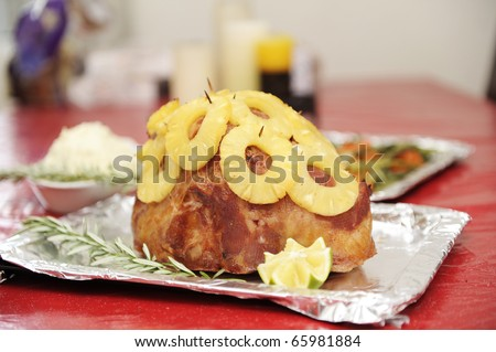 holiday food and decorations - stock photo
