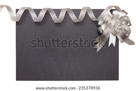 Holiday frame with silver bow and ribbon Isolated on white