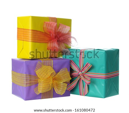 Holiday gift boxes  isolated on white