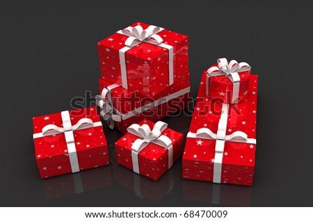Holiday Gift Boxes on dark background - stock photo