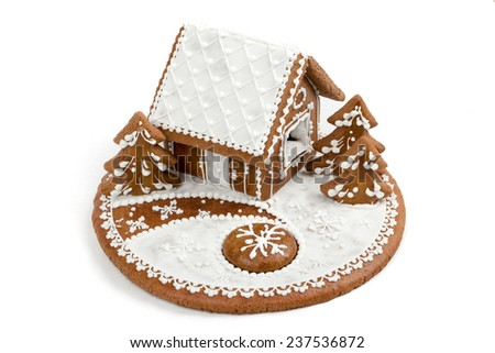 Holiday Gingerbread house isolated on white, christmas cookie - stock photo