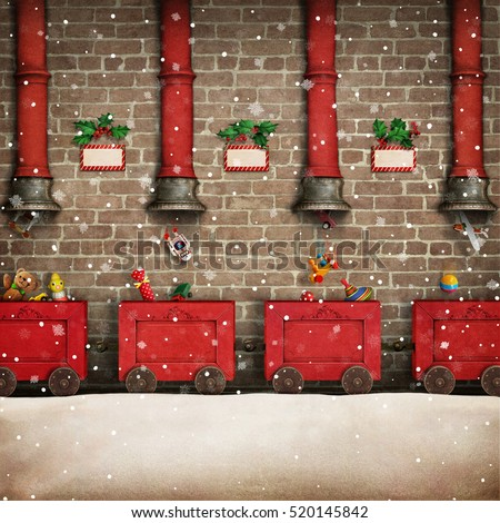 Holiday greeting card for Christmas or New year Santa's work shop and the red train gift