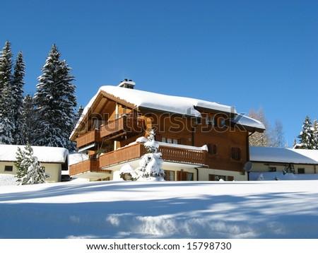 Holiday houses in Amden (St. Gallen, Switzerland) - stock photo