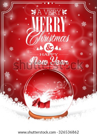 Holiday illustration on a Christmas theme with snow globe against and magic gift box on red background. JPG version. - stock photo