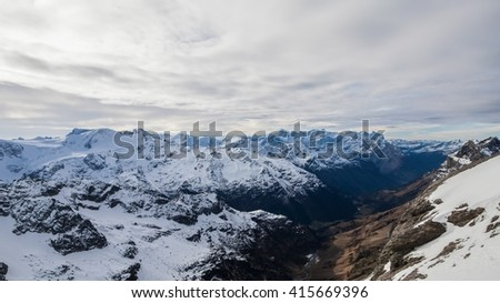 Holiday in Switzerland, Foggy view of winter in Mount Titlis Switzerland