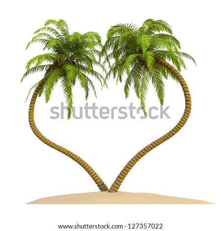 Holiday Island with heart shaped palms, coconuts and surfboard on white - stock photo