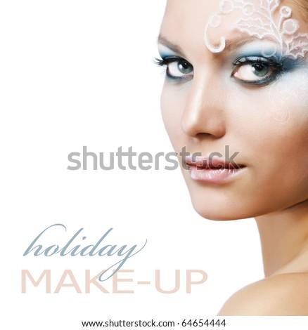 Holiday Make-up.Beautiful Woman's Face - stock photo