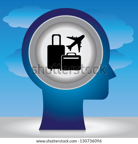 Holiday or Vacation Concept Present By Blue Head With Black Baggage and Airplane Sign Inside in Blue Sky Background - stock photo