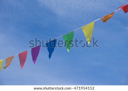 Holiday, Party Flags Garland. Blue Summer Sky