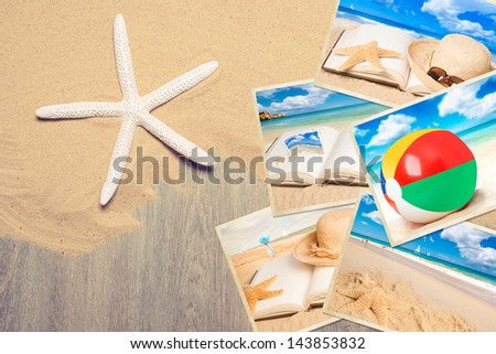 Holiday postcards in the sand with starfish - stock photo