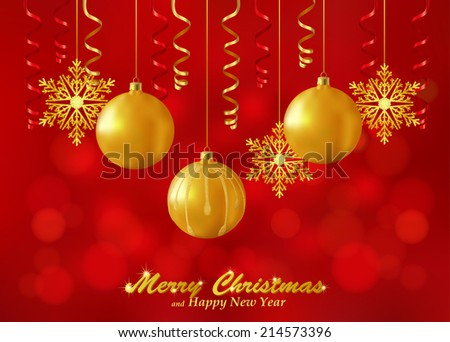 Holiday red background with Christmas ornaments. Christmas background decorated with glass balls, snowflakes and paper streamers. Vector. - stock photo
