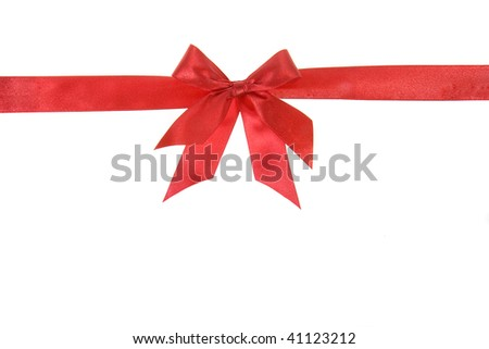 holiday red bow wrap isolated on white background