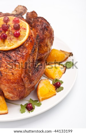 holiday roasted chicken - stock photo