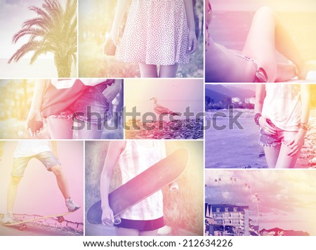 holiday romance boy girl skateboard sea vintage photo retro style. - stock photo