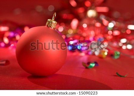 holiday series: some red christms ball over red background