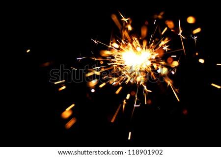 holiday sparkler macro close up - stock photo
