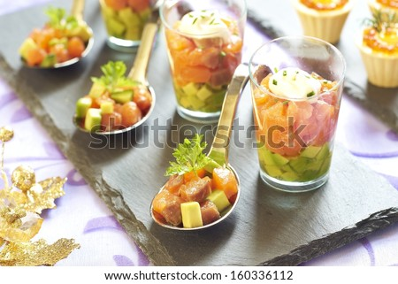 Stock images similar to id 20340322 assorted smoked fish for Christmas fish starters