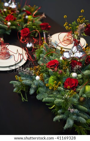 holiday table decoration for christmas  theme - stock photo