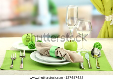 holiday table setting at restaurant - stock photo
