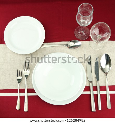 holiday table setting, close up - stock photo