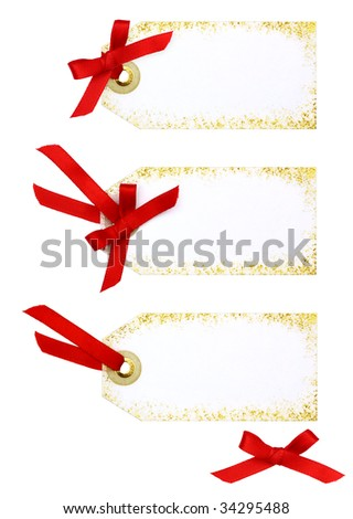 Holiday Tag with Bow - stock photo