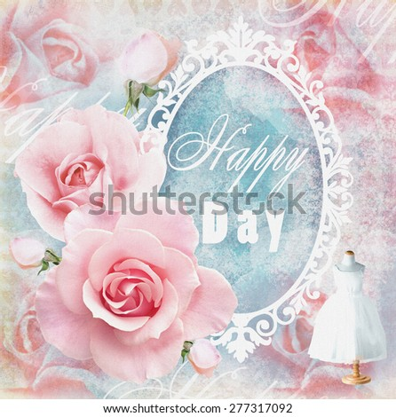 Holiday tender floral card in pink tones with roses, mirror and text field. Wedding theme.  Used for greeting cards, invitations, banners, wraps, textile,wallpaper, web page background. - stock photo