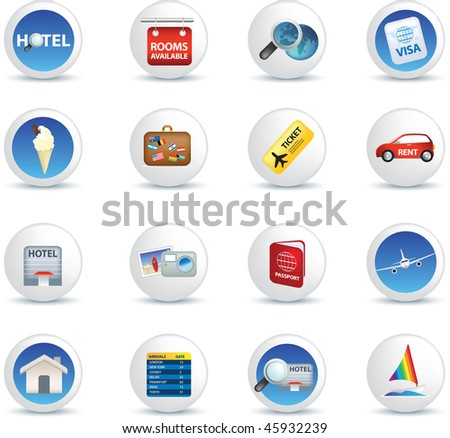 holiday travel and vacation icons illustrations on white - stock photo