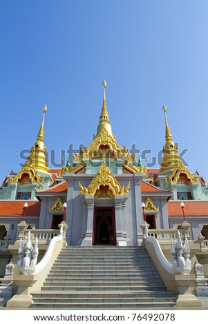 Holiday travel in Prachuap Khiri Khan, Thailand temple on a beautiful sky in the south of Thailand.